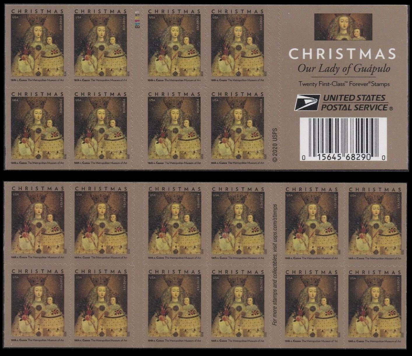 Scott #5541, Double sided Booklet Pane of 20, Christmas, Our Lady of Gudpulo