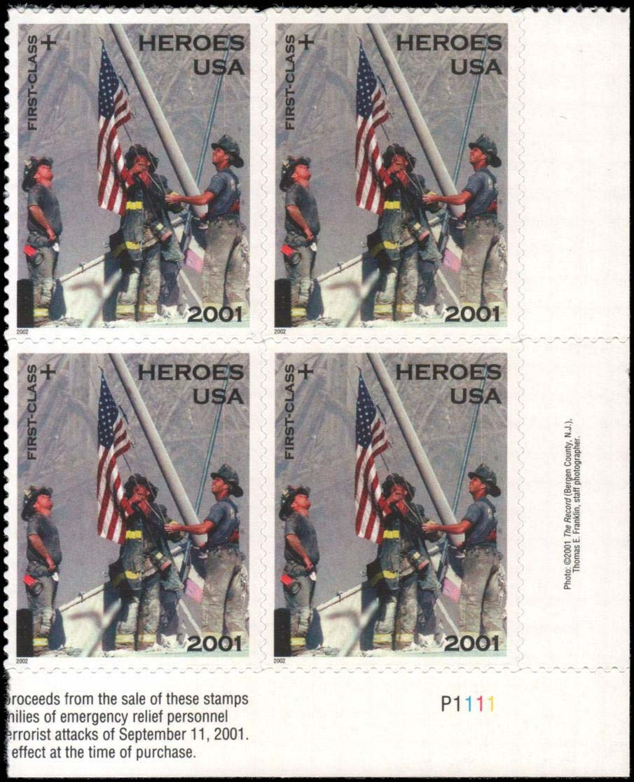 Scott #B-2, Semi Postal, Plate Block of 4, Heroes of 2001