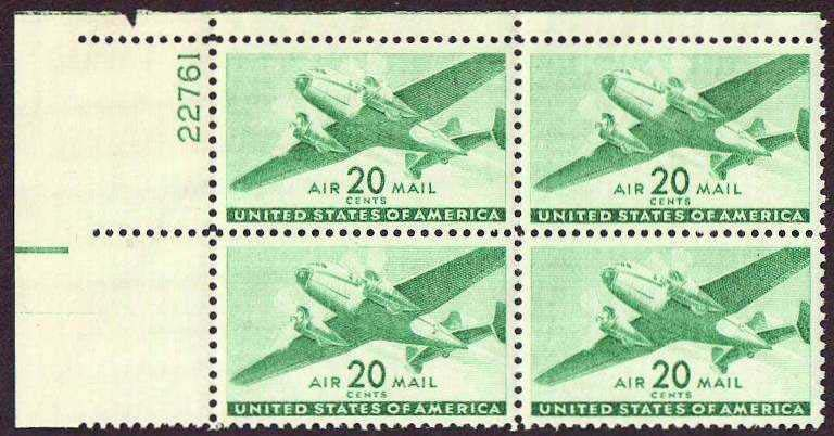 Scott C-029 Plate Block (20 cents)
