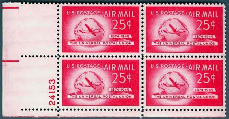 "Scott C-044 Plate Block (25 cents) <p> <a href=""/images/USA-Scott-C-044-PB.jpg""><font color=green><b>View the image</a></b></font>"