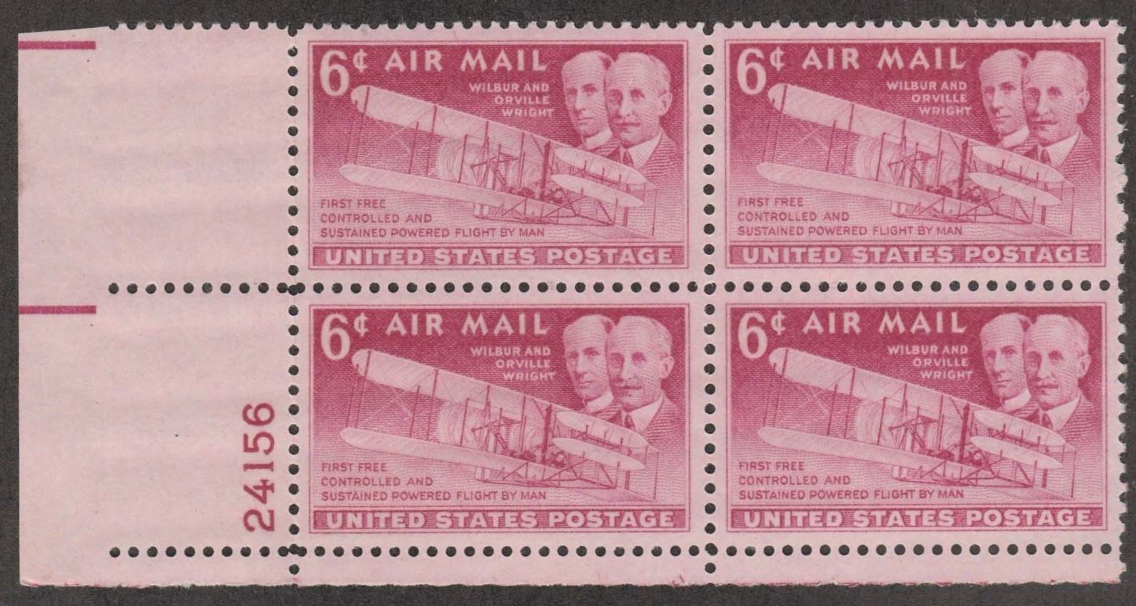 "Scott C-045 Plate Block (6 cents) <p> <a href=""/images/USA-Scott-C-045-PB.jpg""><font color=green><b>View the image</a></b></font>"