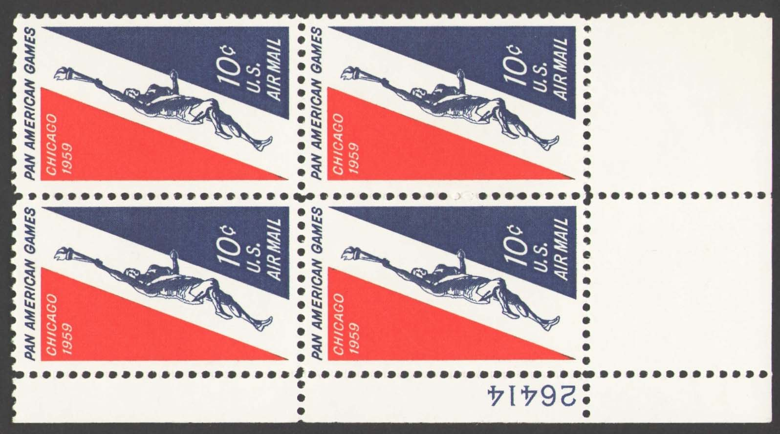 "Scott C-056 Plate Block (10 cents) <p> <a href=""/images/USA-Scott-C-056-PB.jpg""><font color=green><b>View the image</a></b></font>"