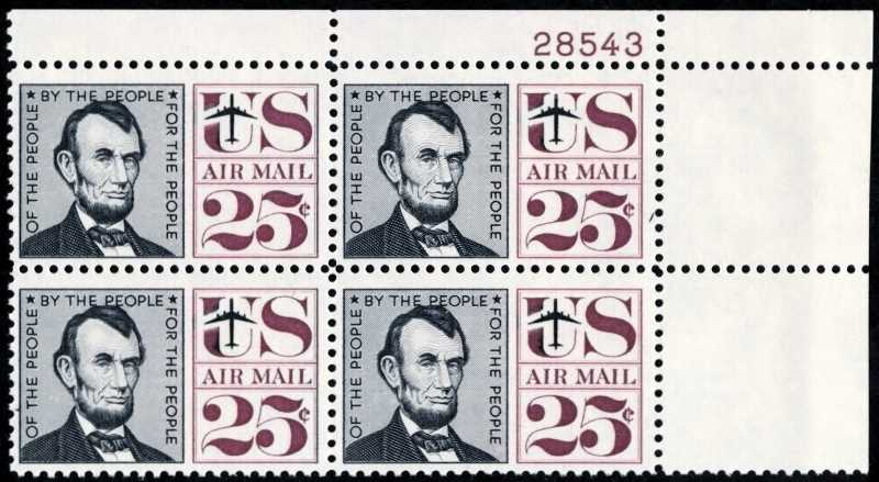 "Scott C-059 Plate Block (25 cents) <p> <a href=""/images/USA-Scott-C-059-PB.jpg""><font color=green><b>View the image</a></b></font>"
