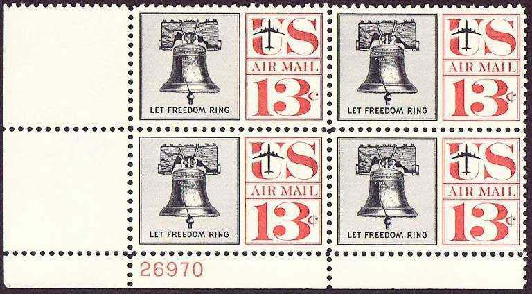 "Scott C-062 Plate Block (13 cents) <p> <a href=""/images/USA-Scott-C-062-PB.jpg""><font color=green><b>View the image</a></b></font>"