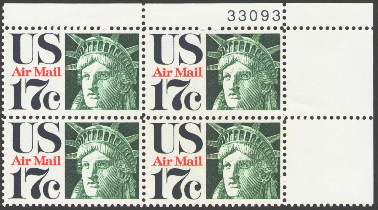 "Scott C-080 Plate Block (17 cents) <p> <a href=""/images/USA-Scott-C-080-PB.jpg""><font color=green><b>View the image</a></b></font>"
