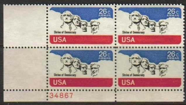 "Scott C-088 Plate Block (26 cents) <p> <a href=""/images/USA-Scott-C-088-PB.jpg""><font color=green><b>View the image</a></b></font>"