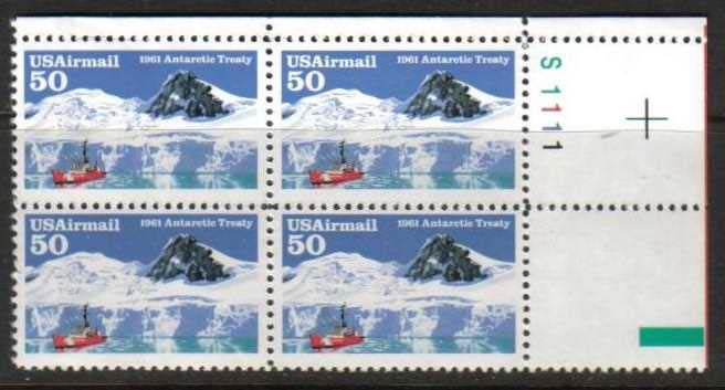 "Scott C-130 Plate Block (50 cents) <p> <a href=""/images/USA-Scott-C-099-PB.jpg""><font color=green><b>View the image</a></b></font>"