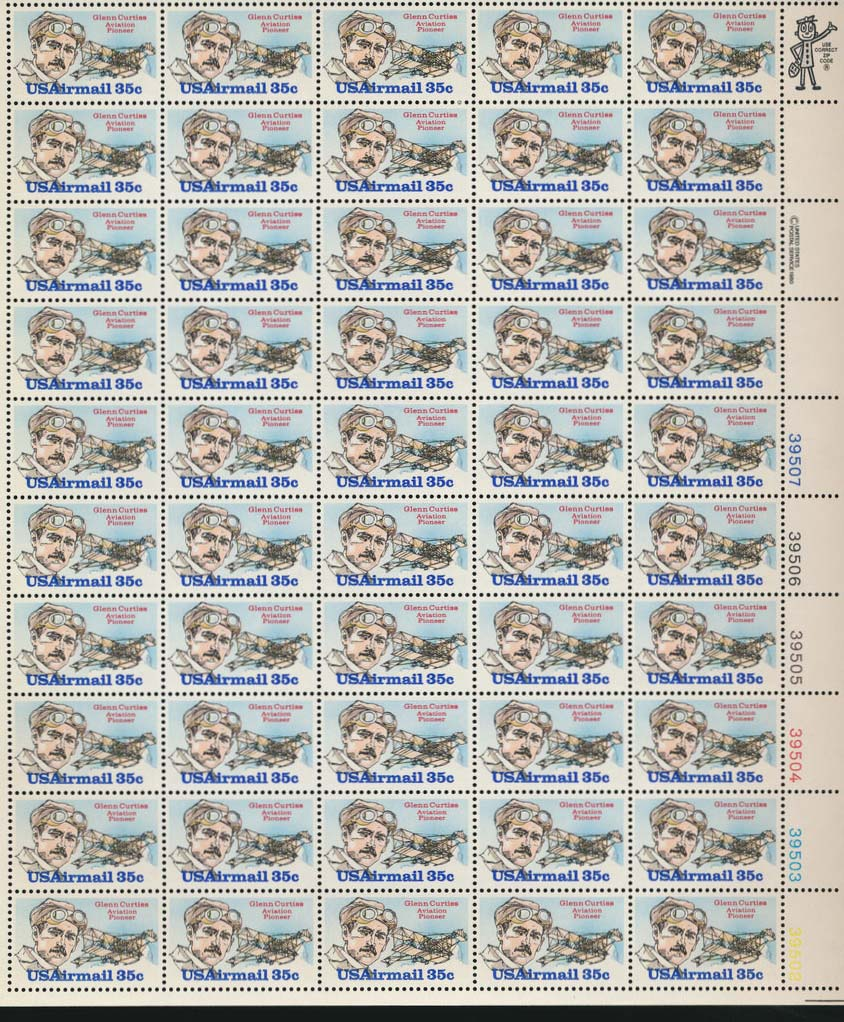 Scott C-100 Sheet (35 cents) <p> <a href=&quot;/images/USA-Scott-C-100-Sheet.jpg&quot;><font color=green><b>View the image</a></b></font>