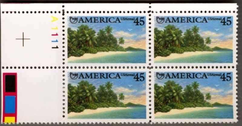 "Scott C-127 Plate Block (45 cents) <p> <a href=""/images/USA-Scott-C-127-PB.jpg""><font color=green><b>View the image</a></b></font>"